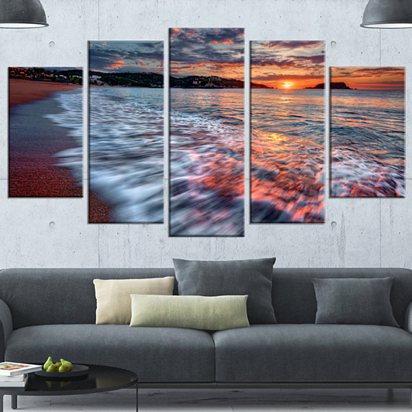 Designart Calm Seashore With Rushing Waters Seashore Wrapped Canvas Art Print - 5 Panels