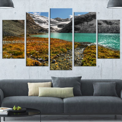 Designart Crystal Clear Lake Among Mountains Landscape Canvas Art Print - 4 Panels