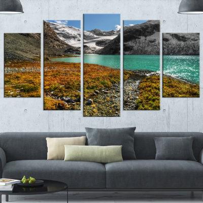 Designart Crystal Clear Lake Among Mountains Landscape Wrapped Canvas Art Print - 5 Panels