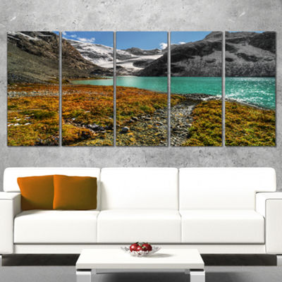 Designart Crystal Clear Lake Among Mountains Landscape Canvas Art Print - 5 Panels