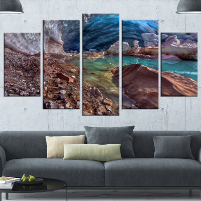 Designart Stylish And Colorful Glacier Cave Landscape Wrapped Canvas Art Print - 5 Panels