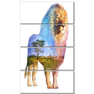 Designart Lion Double Exposure Illustration LargeAnimal Canvas Art Print - 4 Panels