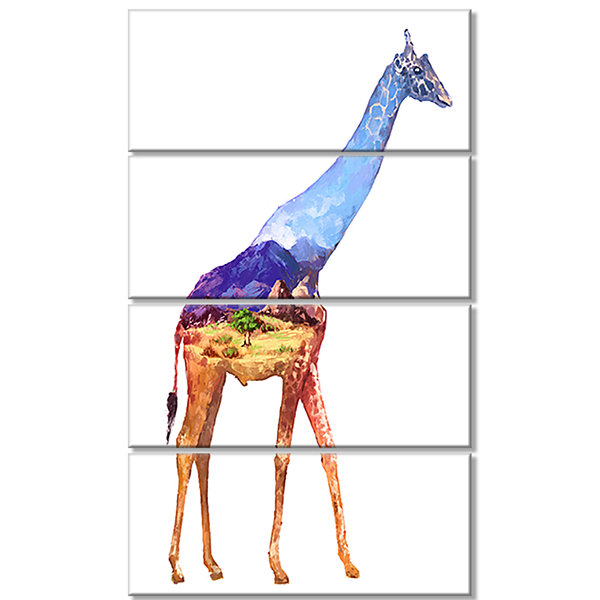 Designart Giraffe Double Exposure Illustration Large AnimalCanvas Art Print - 4 Panels