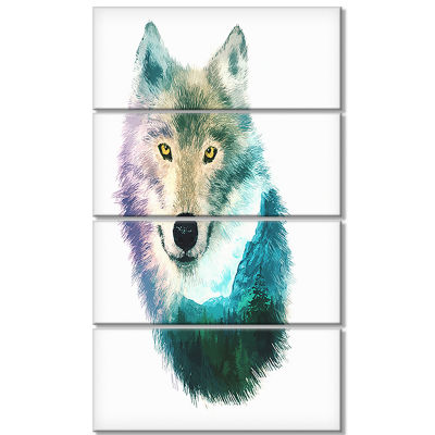 Designart Wolf Head Double Exposure Drawing LargeAnimal Canvas Art Print - 4 Panels