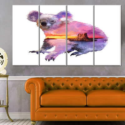Koala Double Exposure Illustration Large Animal Canvas Art Print - 4 Panels