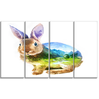 Rabbit Double Exposure Illustration Large Animal Canvas Art Print - 4 Panels