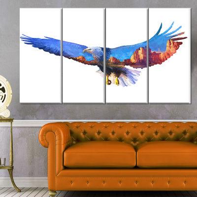 Designart Eagle Double Exposure Illustration LargeAnimal Canvas Art Print - 4 Panels