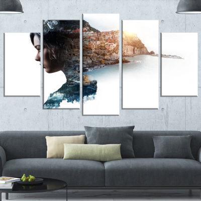 Design Art Double Exposure Woman Portrait PortraitCanvas Art Print - 5 Panels