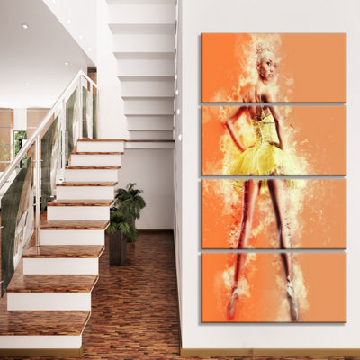 Designart Beautiful Ballerina In Yellow Tutu Portrait Canvas Art Print - 4 Panels