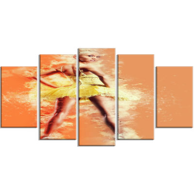 Beautiful Ballerina In Yellow Tutu Portrait Wrapped Canvas Art Print - 5 Panels