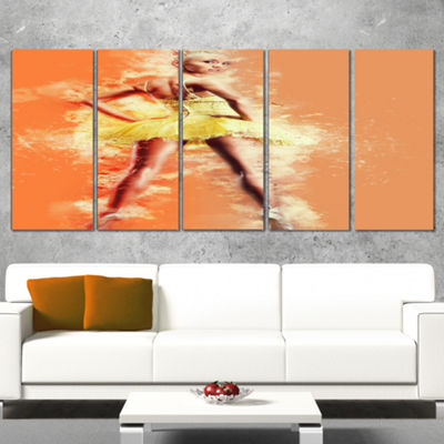 Designart Beautiful Ballerina In Yellow Tutu Portrait Canvas Art Print - 5 Panels