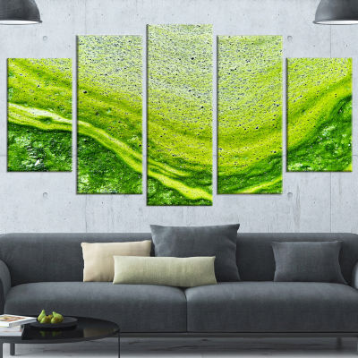 Designart Polluted Water With Algae In Green LargeAbstractWrapped Canvas Artwork - 5 Panels