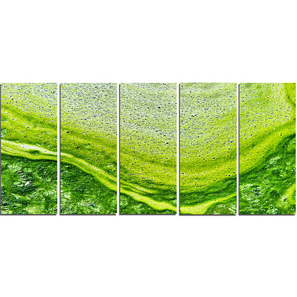 Designart Polluted Water With Algae In Green LargeAbstractCanvas Artwork - 5 Panels