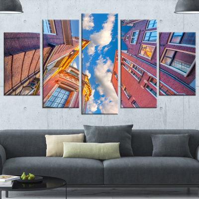 Designart Authentic Dutch Architecture Purple Extra Large Canvas Art Print - 5 Panels