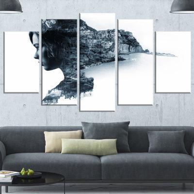 Designart Woman Portrait Double Exposure PortraitWrapped Canvas Art Print - 5 Panels