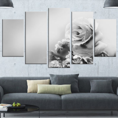 Designart Black And White Rose In Spring. FloralCanvas Art Print - 4 Panels