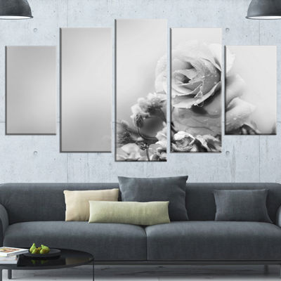 Designart Black And White Rose In Spring. Large Floral Canvas Art Print - 5 Panels