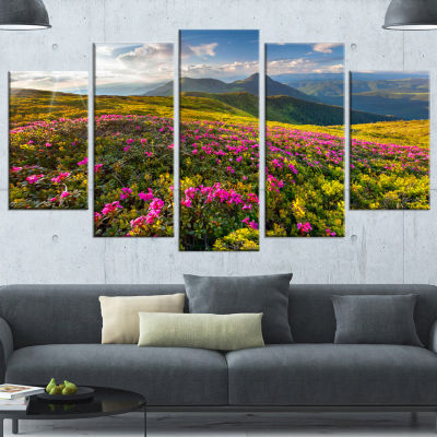 Designart Summer Day Rhododendron Flowers Landscape Canvas Art Print - 4 Panels