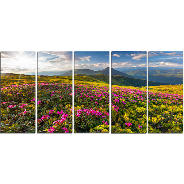 Designart Summer Day Rhododendron Flowers Landscape Canvas Art Print - 5 Panels