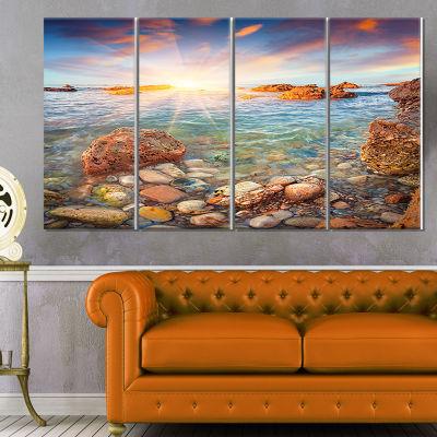 Designart Sunrise On The Tyrrhenian Sea SeashoreCanvas Art Print - 4 Panels