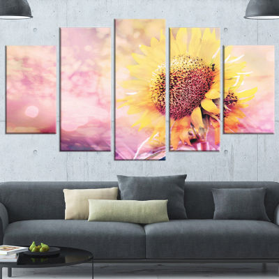 Sunflower With Rainbow Light Effect Floral CanvasArt Print - 4 Panels