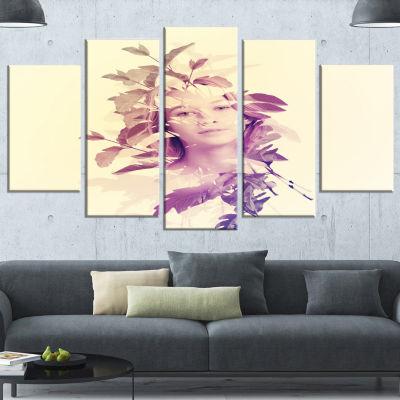 Design Art Woman Portrait With Leaves Portrait Canvas Art Print - 4 Panels
