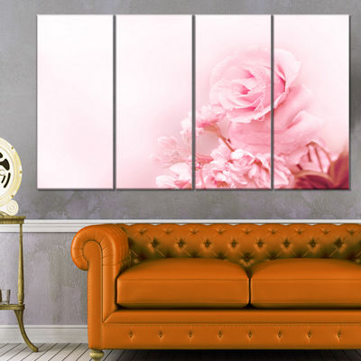 Designart Beautiful Rose In Magic Light PortraitCanvas Art Print - 4 Panels