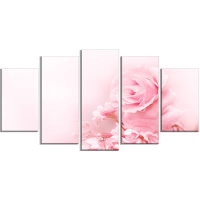 Beautiful Rose In Magic Light Portrait Wrapped Canvas Art Print - 5 Panels