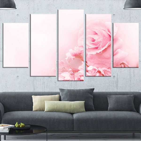 Designart Beautiful Rose In Magic Light PortraitCanvas Art Print - 5 Panels
