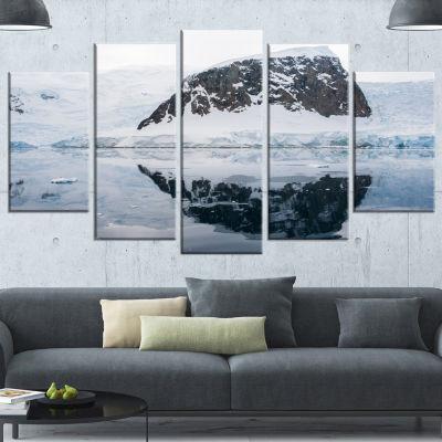 Designart Snowcap Hill In Antarctica Seashore Canvas Art Print - 4 Panels