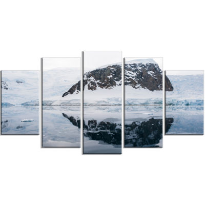 Designart Snowcap Hill In Antarctica Large Seashore Canvas Art Print - 5 Panels