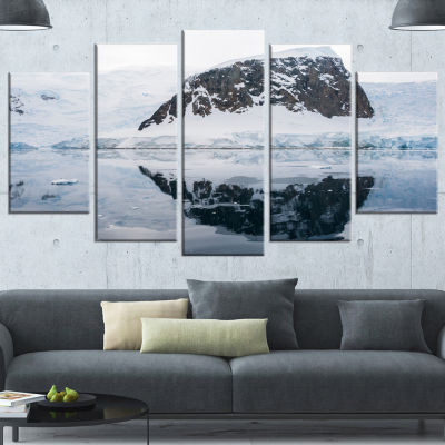 Designart Snowcap Hill In Antarctica Seashore Canvas Art Print - 5 Panels