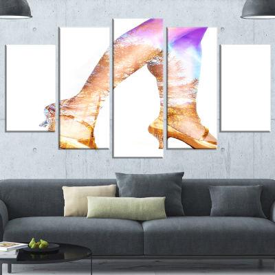 Designart Dancer Legs And Treescape Double Exposure Large Portrait Canvas Art Print - 5 Panels