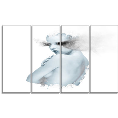 Designart Beautiful Young Woman Double Exposure Portrait Canvas Art Print - 4 Panels