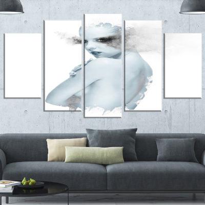 Designart Beautiful Young Woman Double Exposure Large Portrait Canvas Art Print - 5 Panels