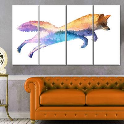 Designart Fox Double Exposure Illustration LargeAnimal Canvas Art Print - 4 Panels