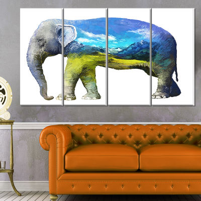 Designart Elephant Double Exposure Illustration Large AnimalCanvas Art Print - 4 Panels