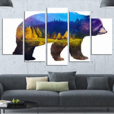 Designart Bear Double Exposure Illustration WhiteLarge Animal Canvas Art Print - 5 Panels