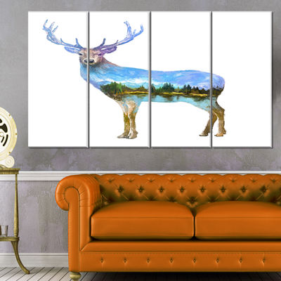 Designart Deer Double Exposure Illustration LargeAnimal Canvas Art Print - 4 Panels
