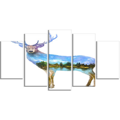 Deer Double Exposure Illustration Large Animal Wrapped Canvas Art Print - 5 Panels