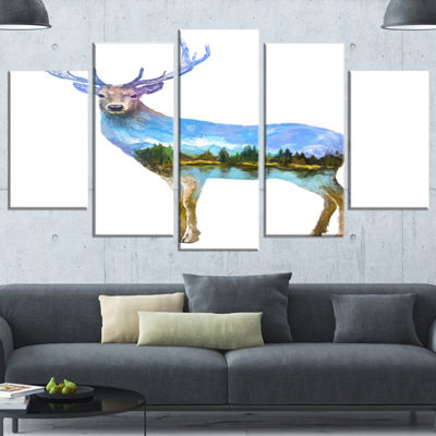 Designart Deer Double Exposure Illustration LargeAnimal Canvas Art Print - 5 Panels