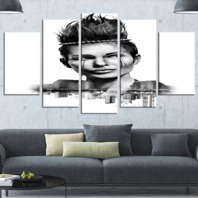 Designart Double Exposure Woman With Hair PortraitCanvas Art Print - 4 Panels