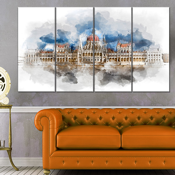 Designart Hungarian Parliament Building Extra Large Canvas Art Print - 4 Panels