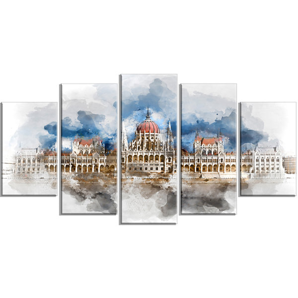Designart Hungarian Parliament Building White Extra Large Canvas Art Print - 5 Panels