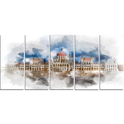Hungarian Parliament Building Extra Large Canvas Art Print - 5 Panels