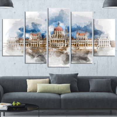Designart Hungarian Parliament Building Extra Large Canvas Art Print - 5 Panels