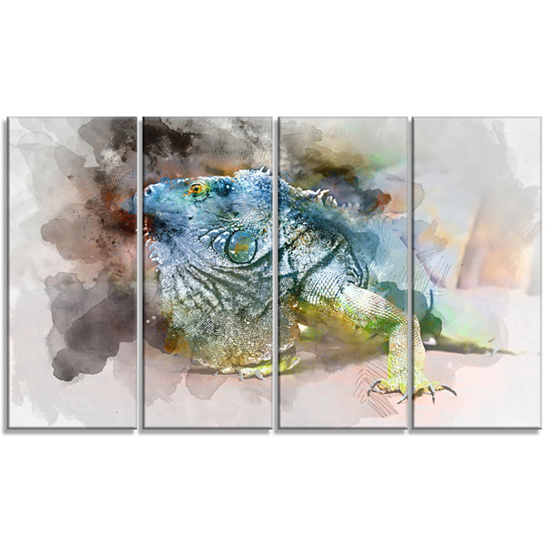 Designart Green Iguana Close Up Painting Large Abstract Canvas Artwork - 4 Panels