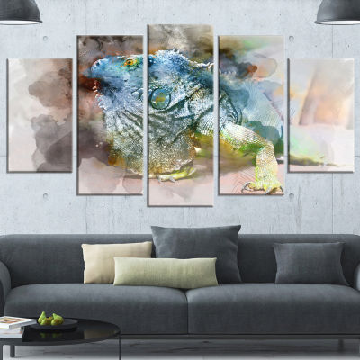 Designart Green Iguana Close Up Painting Large Abstract Wrapped Canvas Artwork - 5 Panels