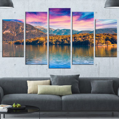 Designart Bohinj Lake In Triglav National Park Landscape Canvas Art Print - 4 Panels