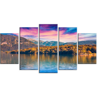 Bohinj Lake In Triglav National Park Large Landscape Wrapped Canvas Art Print - 5 Panels